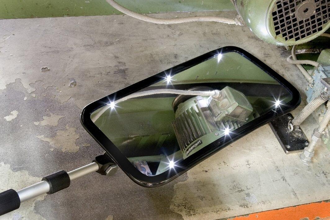 Inspektionsspiegel 20 × 40 cm, mit Rollenfüßen und Licht