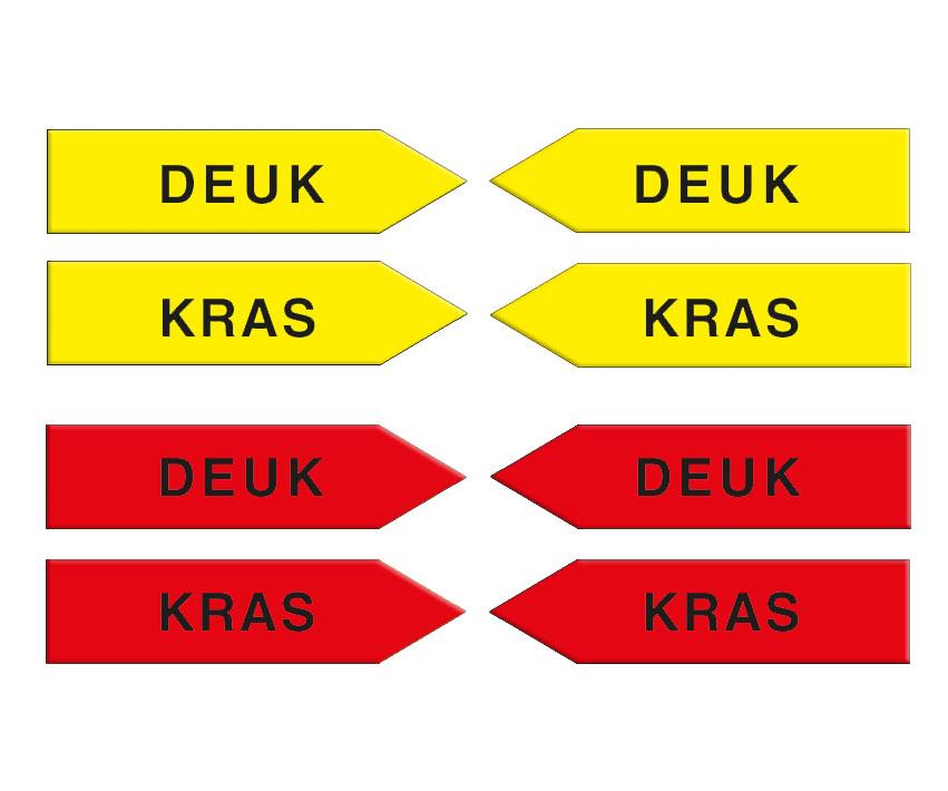 "Magneetpijl, 100 mm, geel/rood, ""KD"" (KRAS + DEUK)"