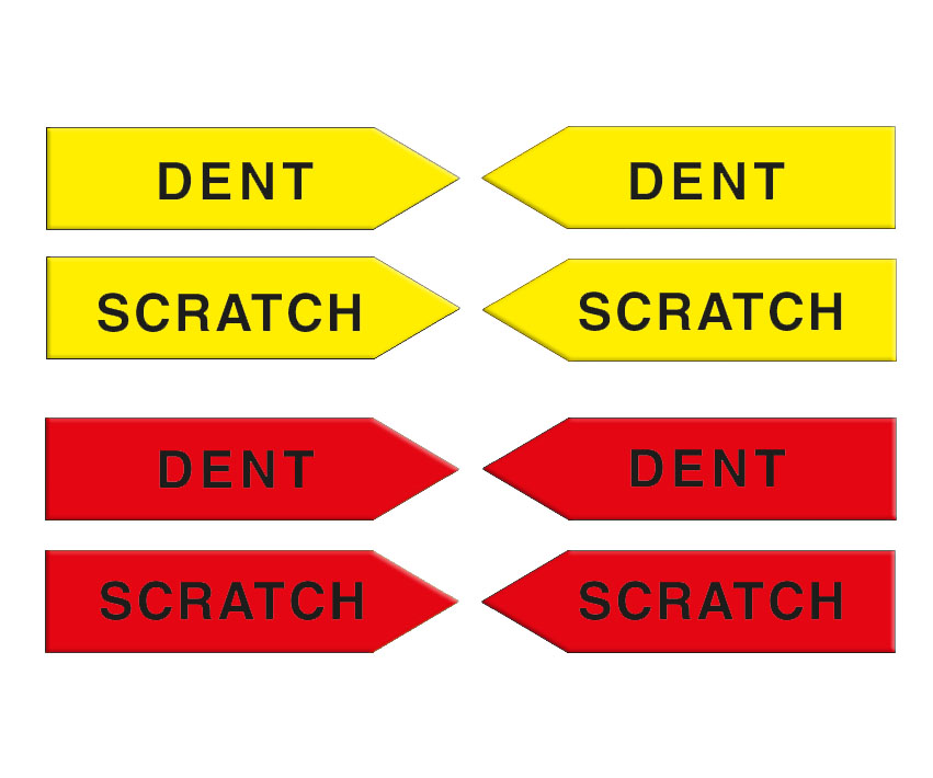 Magnetic arrows, 100 mm, yellow/red, 'DENT/SCRATCH'