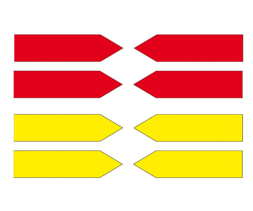 Haftpfeile gelb/rot, 100 mm, Folie