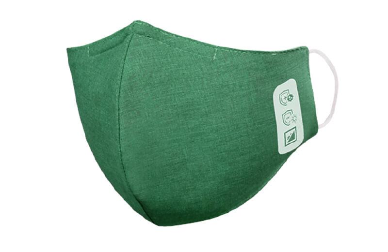 Mund-Nasenschutz, 3-lagig, Stoff, grün